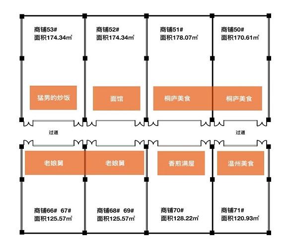 七彩美食城商铺户型-小柯网